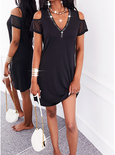 Sólido Vestidos sueltos Manga Corta Mini Pequeños Negros Casual Túnica Vestidos de moda