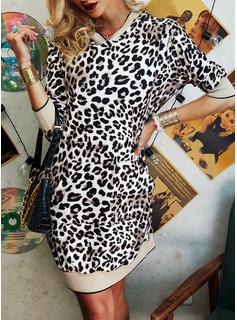 Leopard Fodral 3/4 ärmar Mini Fritids Modeklänningar