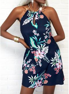 Floral Impresión Escotado por detrás Vestido línea A Sin mangas Mini Casual Vacaciones Patinador Vestidos de moda