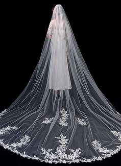 Jednovrstvá S našitou krajkou Kaple Svatební Závoje S Krajka