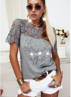 Lace Sequins Heart Round Neck Short Sleeves Casual Blouses