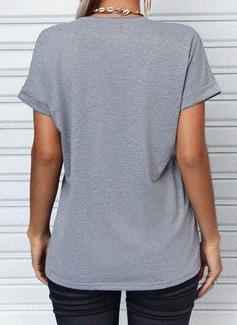 Stampa Scollatura a V Maniche corte Casuale Reggiseno Tshirt