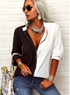 Color Block V-Neck Long Sleeves Casual Shirt Blouses
