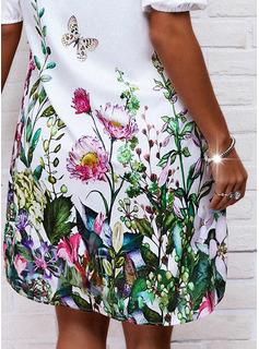 Estampado de animales Floral Vestidos sueltos Mangas 1/2 Midi Casual Túnica Vestidos de moda