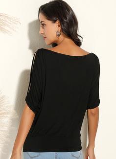 Einfarbig 1/2 Ärmel Polyester Schulterfrei Große Größen Blusen Blusen