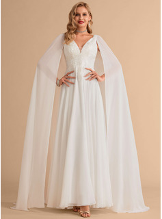 A-Line V-neck Floor-Length Sweep Train Chiffon Wedding Dress With Lace Sequins