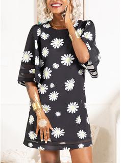Blomster Print Skiftekjoler 3/4 ærmer Mini Casual Tunika Mode kjoler