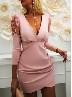 Lace Solid Bodycon Long Sleeves Puff Sleeves Mini Party Elegant Dresses
