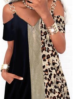 Leopardo Trozos de color Vestidos sueltos Manga Corta Mini Casual Túnica Vestidos de moda