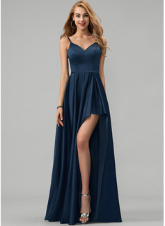 A-Line V-neck Floor-Length Satin Evening Dress With Split Front Cascading Ruffles