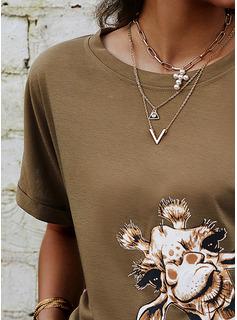 アニマル柄 ラウンドネック 半袖 カジュアル Tシャツ