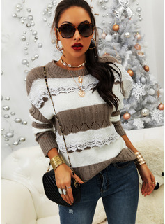 Round Neck Casual Lace Color Block Sweaters