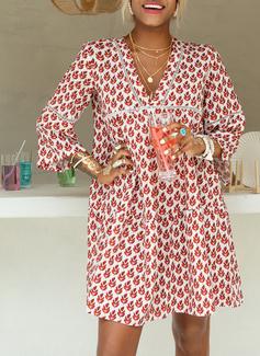 Print Skiftekjoler Flare-ærmer Lange ærmer Mini Casual Ferie Tunika Mode kjoler