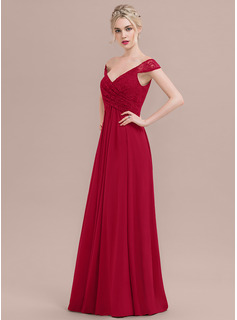 93195723a98 A-Line Princess Off-the-Shoulder Floor-Length Chiffon Lace Bridesmaid Dress  With Ruffle (007116656) - Bridesmaid Dresses - DressFirst