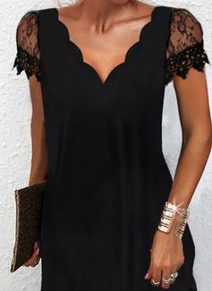 Solid Shift Short Sleeves Mini Little Black Elegant Dresses