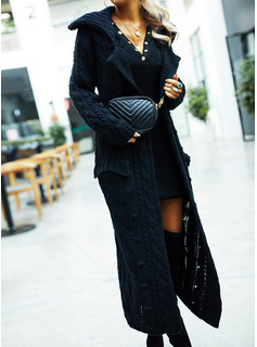 Lapel Casual Long Solid Cable-knit Chunky knit Sweaters