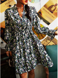 フローラル 印刷 Aラインワンピース 長袖 ミディ カジュアル スケーター ファッションドレス