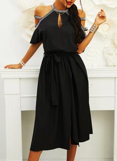 Sequins Solid A-line Cold Shoulder Sleeve Short Sleeves Midi Little Black Party Skater Dresses