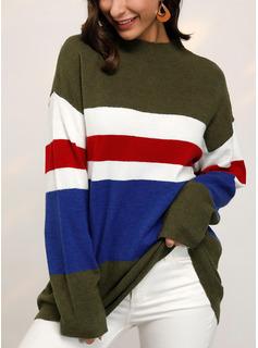 ラウンドネック カジュアル カラーブロック 縞模様の セーター