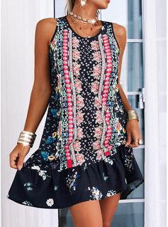 Floral Print Shift Sleeveless Mini Casual Dresses