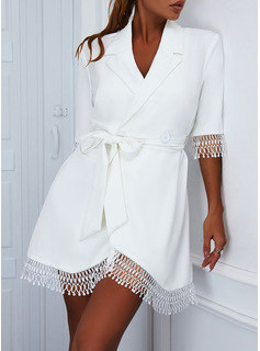 Solid A-line 1/2 Sleeves Mini Elegant Skater Wrap Dresses