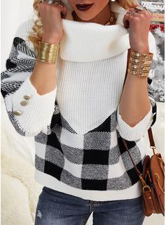 Turtleneck Casual Color Block Grid Sweaters