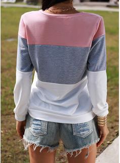 Color Block Rund hals Lange ærmer Casual T-shirt