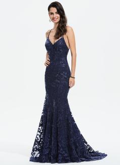 Trumpet/Mermaid V-neck Sweep Train Sequined Prom Dresses