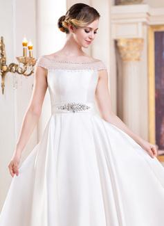 Robe Marquise Hors-la-épaule Longueur mollet Satiné Robe de mariée avec Brodé Paillettes