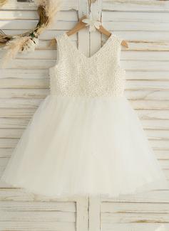 A-Line Knee-length Flower Girl Dress - Satin/Tulle Sleeveless V-neck With Beading