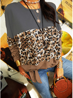 Leopard Color Block Round Neck Long Sleeves Casual Blouses