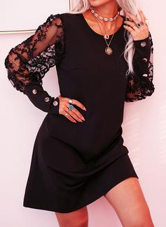 Blonder Solid Skiftekjoler Lange ærmer Mini Den lille sorte Casual Elegant Tunika Mode kjoler
