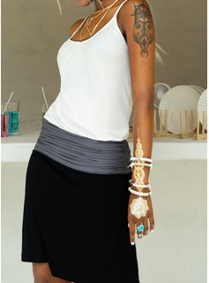 Above Knee Spaghetti Straps Cotton Color-block Sleeveless Fashion Dresses