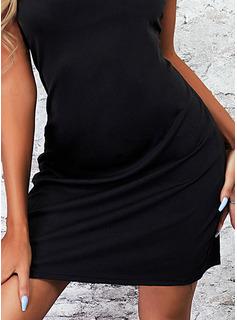 Sólido Vestidos sueltos Mini Pequeños Negros Casual Vestidos de moda