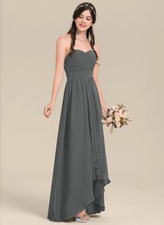 A-Line Sweetheart Asymmetrical Chiffon Bridesmaid Dress With Cascading Ruffles