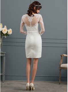 Sheath/Column Illusion Knee-Length Stretch Crepe Wedding Dress With Sequins Bow(s)