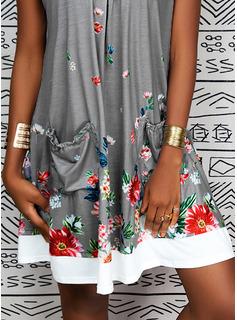 Floral Impresión Vestidos sueltos Midi Casual Vestidos de moda