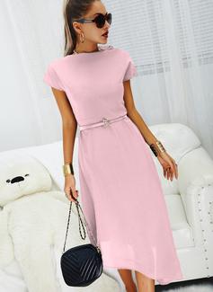 Solid A-line kjole Kortermer Midi Avslappet Motekjoler