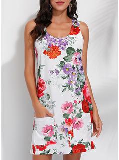 Blomster Print Skiftekjoler Ærmeløs Mini Casual Ferie Tank Mode kjoler