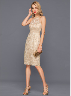 Sheath/Column Scoop Neck Knee-Length Lace Cocktail Dress With Beading Sequins