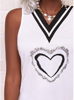 Impresión raya Corazón Vestidos sueltos Sin mangas Mini Elegante Vestidos de moda