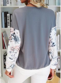 Color Block Floral Print V-Neck Long Sleeves Sweatshirt