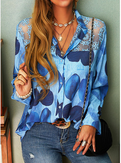 Lace Print V-Neck Long Sleeves Button Up Casual