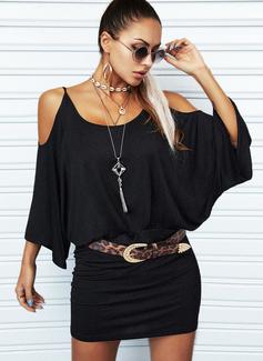 Solido A trapezio Maniche a pipistrello Spalle esposte Maniche lunghe Mini Casuale Vestiti di moda