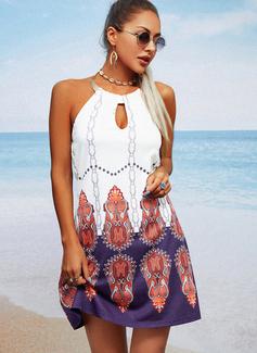 Print Shift Sleeveless Mini Casual Dresses