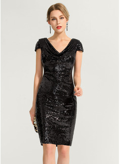 Sheath/Column Cowl Neck Knee-Length Sequined Cocktail Dress