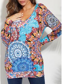 Print Skiftekjoler Lange ærmer Mini Casual Tunika Mode kjoler