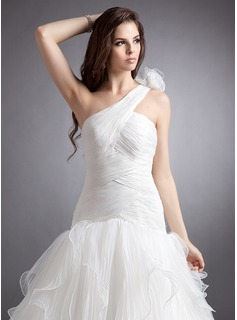 Ball-Gown One-Shoulder Chapel Train Organza Wedding Dress With Flower(s) Cascading Ruffles Pleated