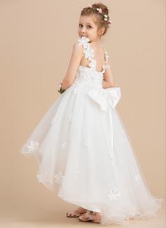 Robe Marquise/Princesse Asymétrique Robes à Fleurs pour Filles - Tulle Sans manches Col V avec Brodé/Fleur(s)/À ruban(s)