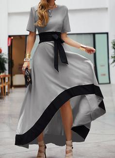 Trozos de color Vestido línea A Manga Corta Asimétrico Fiesta Elegante Patinador Vestidos de moda